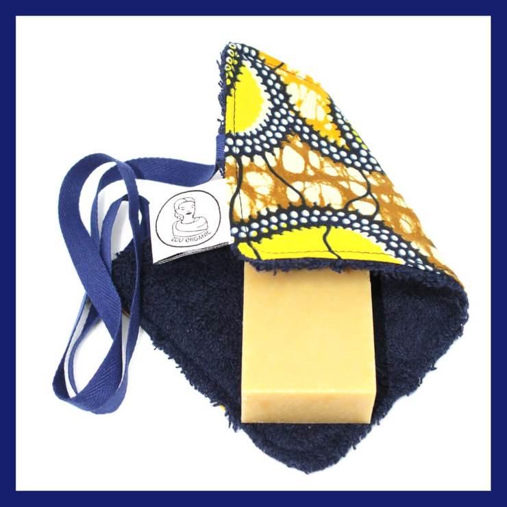 porte savon nomade en coton eponge oeko tex bleu et wax zou organic 740x