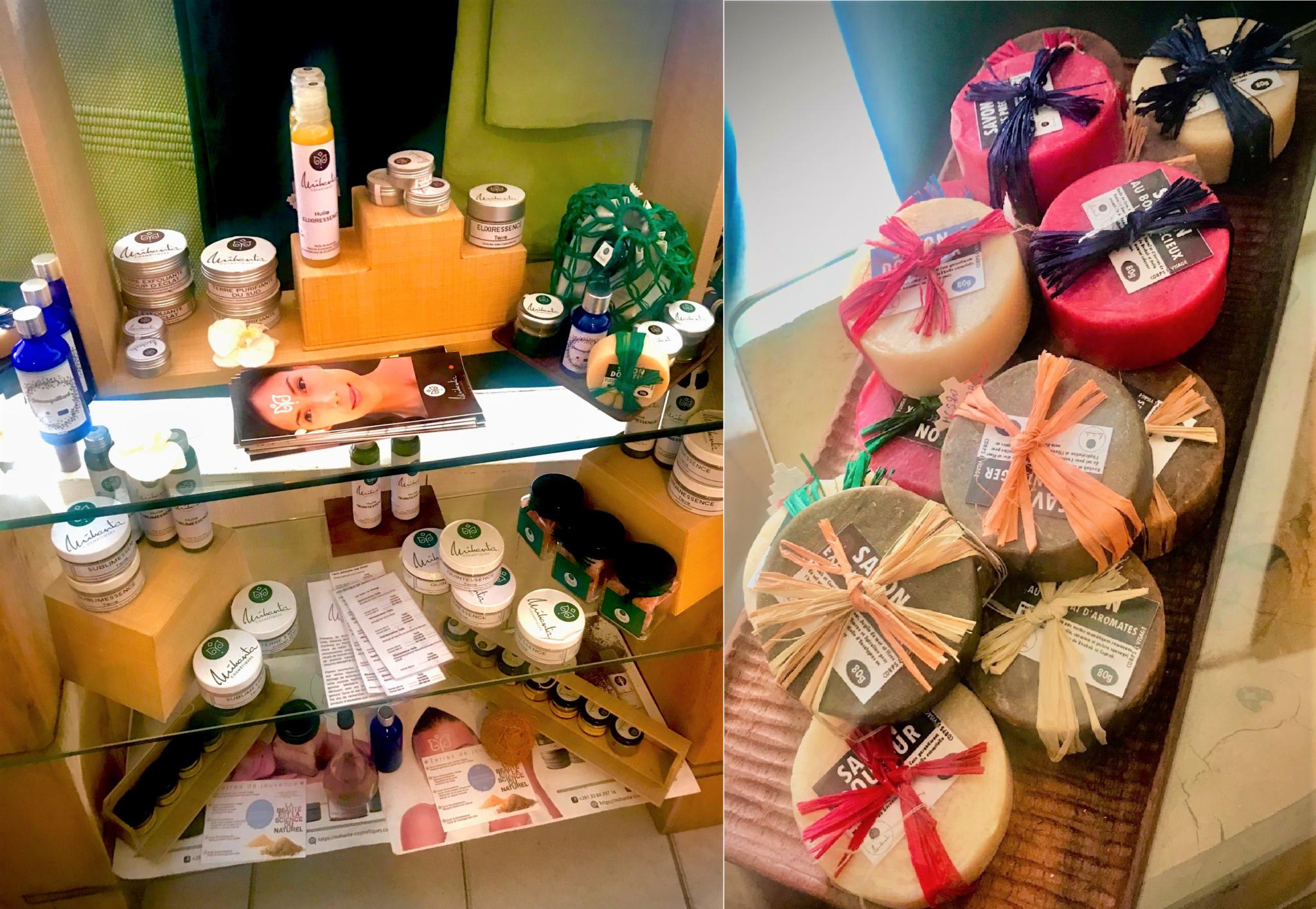 Les produits et savons de Mihanta vendus chez Suzy's Corner à Tana